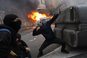 Protest v Barcelone.
