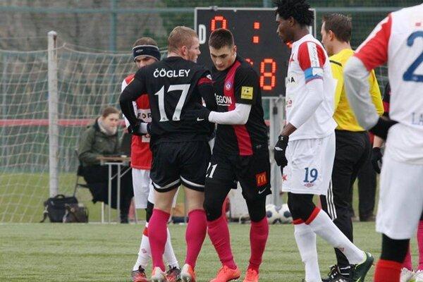 Matúš Bero sa gólovo proti pražskej Slavii presadil dva razy.