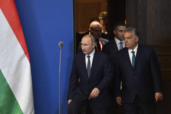Viktor Orbán a Vladimir Putin na stretnutí v Budapešti.