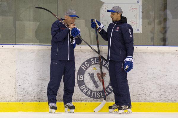 Vľavo tréner slovenskej hokejovej reprezentácie Craig Ramsay a vpravo jeho asistent Ján Pardavý.