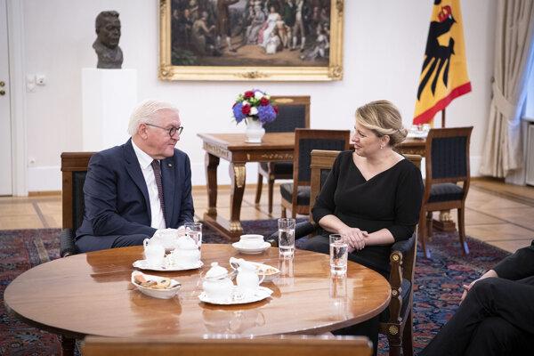 Zuzana Čaputová počas stretnutia s nemeckým prezidentom Frankom-Walterom Steinmeierom.
