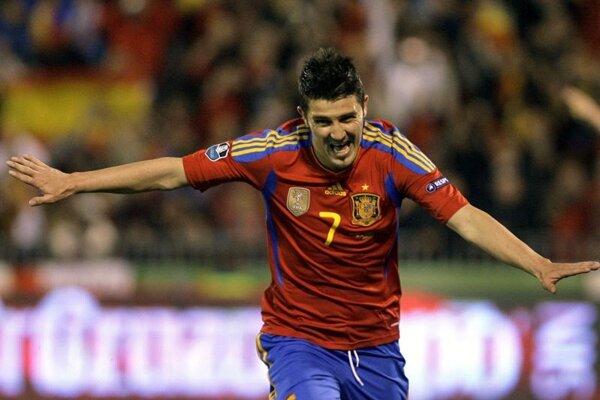 David Villa (vľavo) oslavuje gól spoločne s Fernandom Torresom.