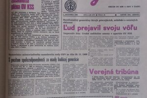 Výtlačok týždenníka Kysuce z 1. decembra 1989 - titulná straba