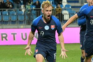 Radosť Petra Kolesára po strelenom góle v zápase kvalifikácie na ME 2021 do 21 rokov medzi Slovenskom a Gruzínskom.