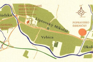 Mapa s vyznačením popraviska