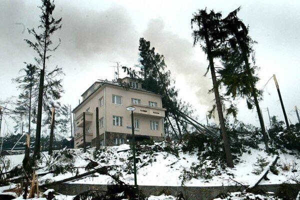 Padajúce stromy ničili aj budovy.