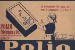 Dobová reklama na košické mydlo Polio.