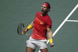 Rafael Nadal po triumfe nad Denisom Shapovalovom vo finále Davisovho pohára 2019.