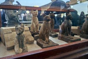 Rozsiahla zbierka 75 drevených a bronzových sošiek mačiek v rôznych tvaroch a veľkostiach.
