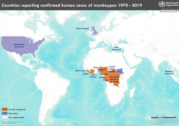 Mapa krajín, v ktorých sa medzi rokmi 1970 a 2019 objavili prípady opičích kiahní. Fialovou sú krajiny, do ktorých bolo ochorenie zavlečené, červená označuje oblasti obvyklého výskytu.