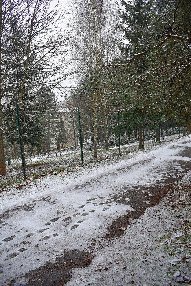 Prístupový chodník ku škole zhora