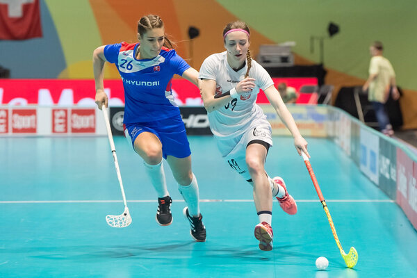 Momentka zo zápasu Slovensko - Poľsko na MS vo florbale žien 2019.