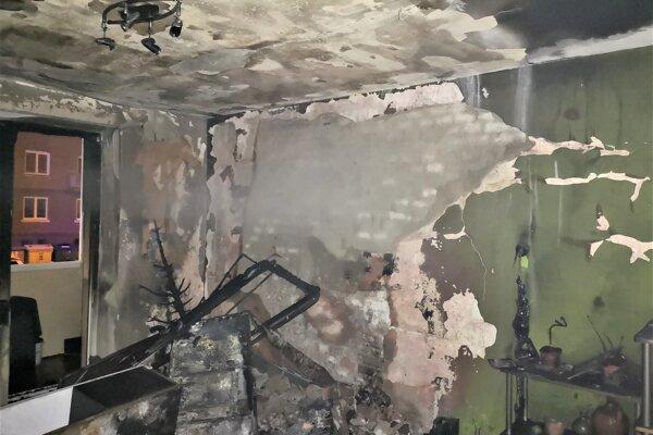 Požiar obývačky v Martine.
