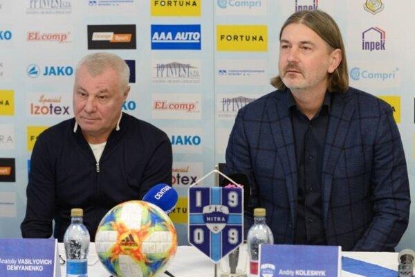 Nový tréner FC Nitra Anatolij Demjanenko a prezident  Andrij Kolesnik.