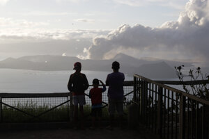 Filipínska sopka Taal 14. januára 2020.