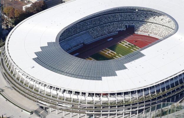 Dokončený nový Olympijský štadión vTokiu.