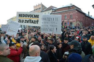 Protest v Levoči.