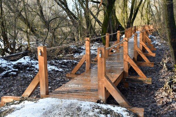 Náučný chodník s drevenými lávkami, ktoré vedú ponad mŕtve rameno rieky Laborec.