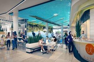 Vizualizácia pasáže Food Hall v komplexe Eurovea.