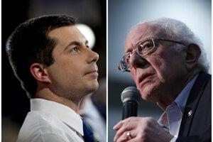 Pete Buttigieg a Bernie Sanders.