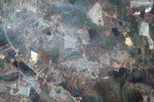 Satelitná snímka zobrazuje oblasť blízko mesta Kafaldin na sever Sýrie blízko hraníc s Tureckom 16. februára 2020.