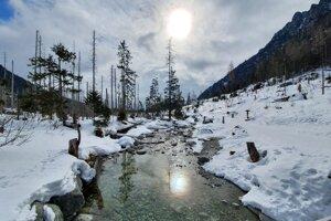 Takto to vyzeralo v nedeľu cesto z Hrebienka smerom do Malej studenej doliny vo Vysokých Tatrách.