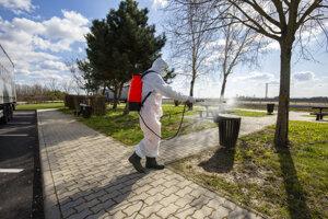 Zamestnanec spoločnosti na údržbu ciest postrekuje verejné toalety dezinfekčným prostriedkom, aby sa zabránilo rozšíreniu nového koronavírusu na odpočívadle diaľnice M70 neďaleko Csornyefoldu.