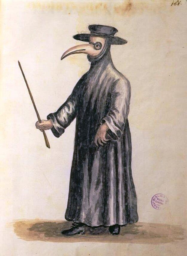 Stredoveký lekár počas morových epidémií.