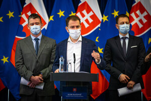 Premiér Igor Matovič na utorňajšej tlačovej konferencie.