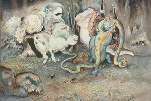 Karol Harmos: Epidémia, 1920 - 1930. Komárňanský umelec vystihol atmosféru po epidémii španielskej chrípky. Organizmy roznášajúce epidémiu zobrazil v podobe odpudivých pestrofarebných príšer.