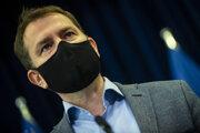Premiér Igor Matovič na pondelňajšej tlačovej konferencii.