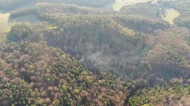 Požiar lesa v Lukavici.