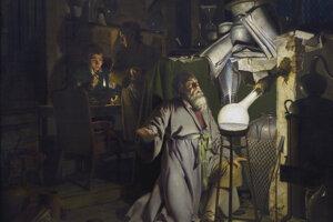 Alchymista na obraze Josepha Wrighta z Derby.