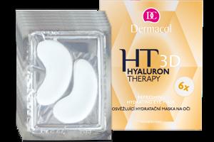 Dermacol 3D Hyaluron Therapy, hydratačná maska na oči regeneruje okolie očí, vyhladí jemné vrásky, hydratuje a osvieži. Zvyšuje elasticitu pokožky očného okolia, odstraňuje opuchy a tmavé kruhy, intenzívne regeneruje a upokojuje. Cena 7,69  € / 6 x 6 g