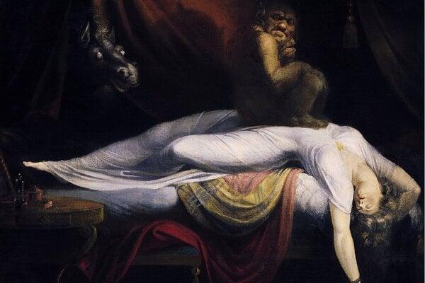 Olejová maľba od Henryho Fuseliho s názvom Nočná mora.