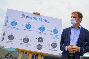 Predseda vlády SR Igor Matovič počas brífingu na tému:  Smart karanténa.