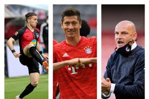 Zľava Peter Pekarík (Hertha Berlín), Robert Lewandowski (Bayern Mníchov) a Adrián Guľa (Viktoria Plzeň).