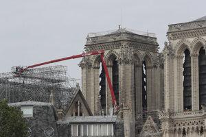 Pracovníci začínajú odstraňovať lešenie poškodené požiarom z katedrály Notre Dame v Paríži.