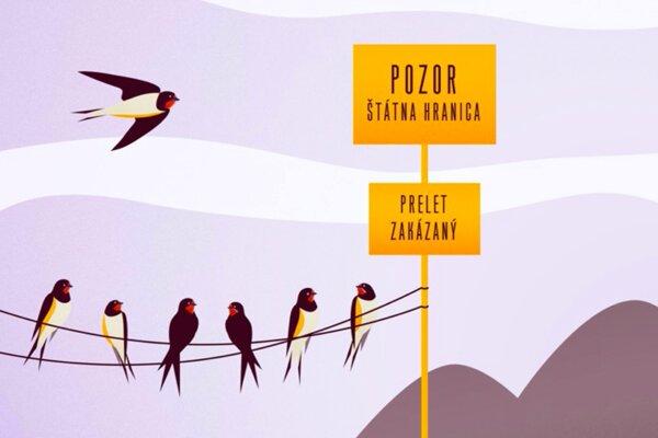Plagát Zuzany Valáškovej (Pozor! _ Warning!). Nadácia Milana Šimečku hľadá najlepší plagát s témou migrácie.