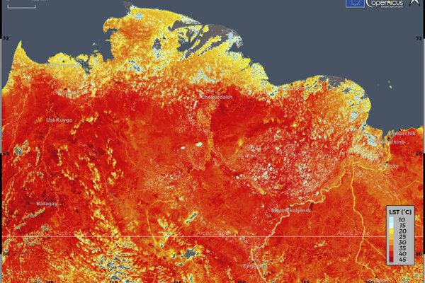 Fotografia z 19. júna, ktorú zachytil a poskytol Copernicus Climate Change Service, ukazuje nevídane vysoké teploty v oblasti Sibíri.