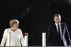 Nemecká kancelárka Angela Merkelová a francúzsky prezident Emmanuela Macron.