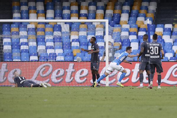 Arkadiusz Milik z SSC Neapol po strelenom góle.