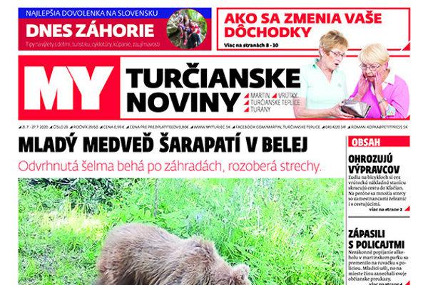 Titulná strana MY Turčianskych novín.
