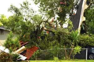 Zničený dom v texaskom Brownsville 26. júla 2020.