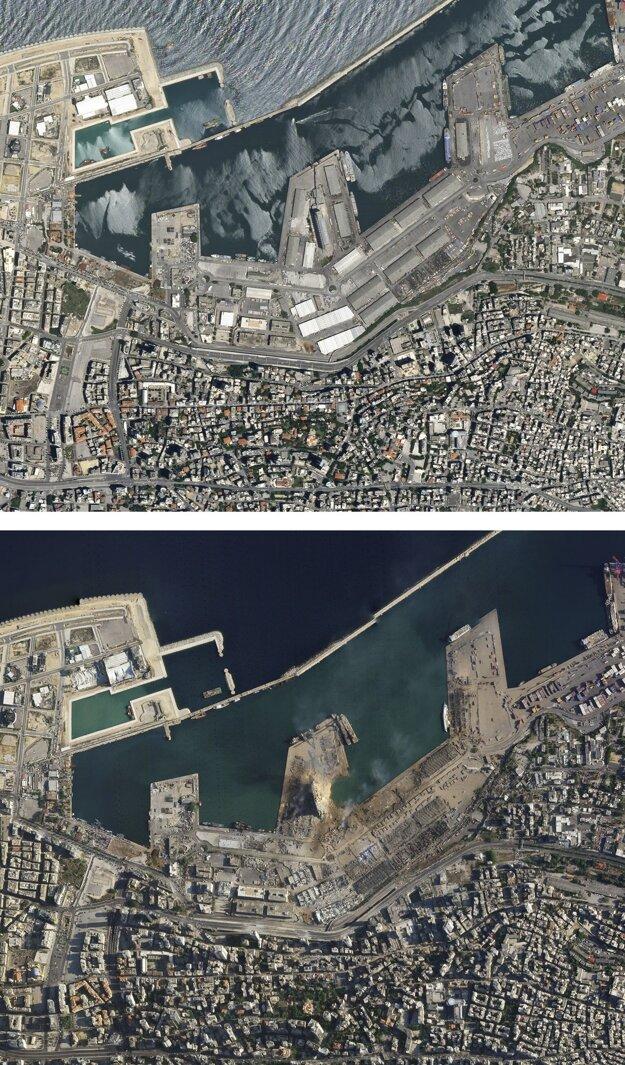 Na satelitnej snímke prístav v Bejrúte a okolie prístavu 5. augusta 2020 deň po masívnej explózii.