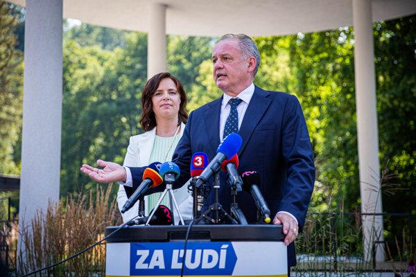 Veronika Remišová a Andrej Kiska po sneme strany Za ľudí.