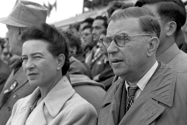 Simone de Beauvoir a Jean Paul Sartre v Pekingu v roku 1955.