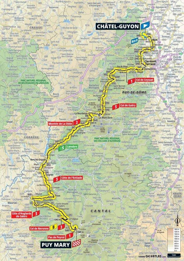 13. etapa na Tour de France 2020 - mapa.