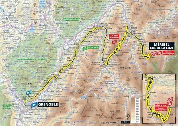17. etapa na Tour de France 2020 - mapa.