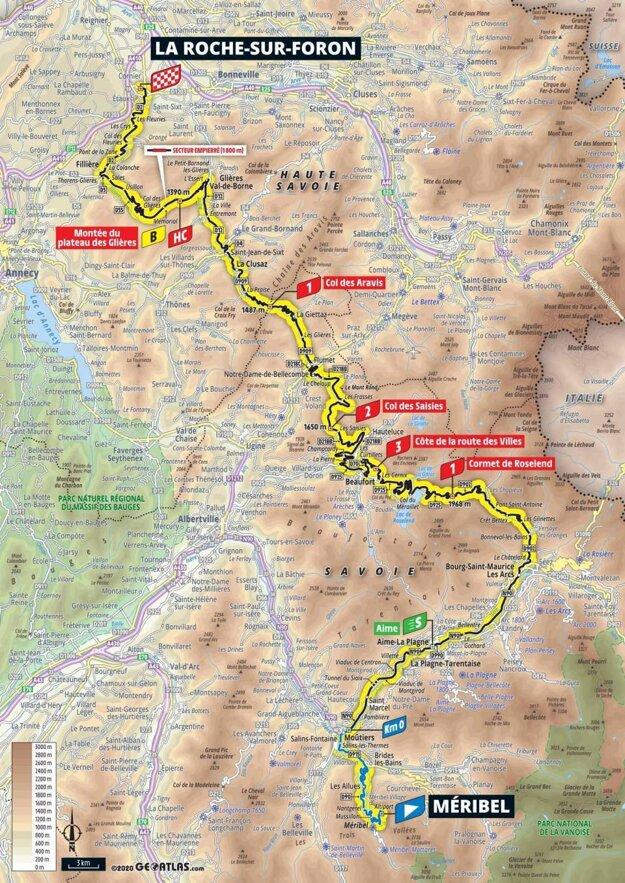 18. etapa na Tour de France 2020 - mapa.